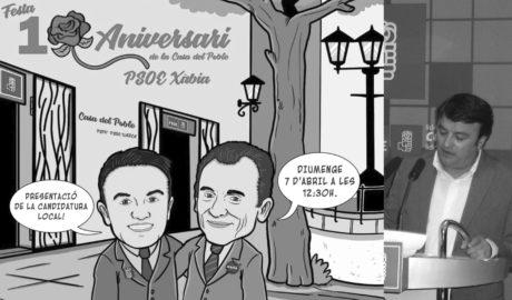 Chulvi y Duque se hacen personajes de cómic para celebrar los diez años de la Casa del Pueblo de Xàbia