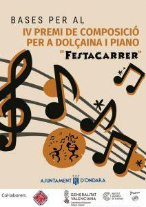 """Inscripció al IV Premi de Composició per a Dolçaina i Piano """"Festacarrer"""" d'Ondara @ Ondara"""