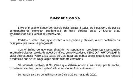 La alcaldesa de Calp utiliza un bando municipal para 'autorizar' al Ratoncito Pérez a entrar en las casas