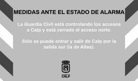 La Guardia Civil deja cerrado el acceso norte a Calp y solo se podrá entrar y salir por el acceso sur
