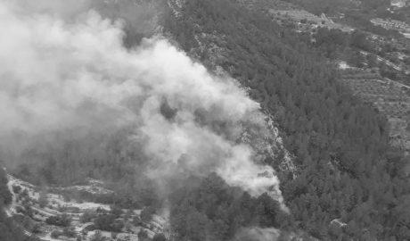 Declarado un incendio en el Barranc de la Cova Negra de Xaló