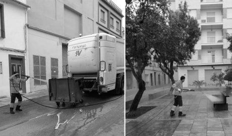 Intensa limpieza de contenedores y espacios públicos en Pego