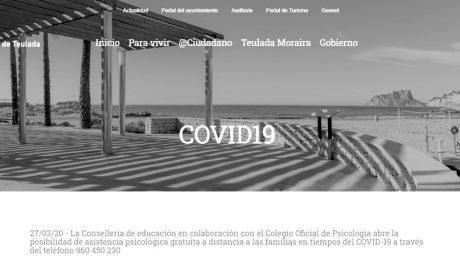 El Ayuntamiento de Teulada crea un apartado web específico para el coronavirus